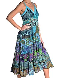 Kleid Trägerkleid Maxikleid Abendkleid Sommerkleid Strandkleid Kleider Ärmellos Ethno Goa Springtime