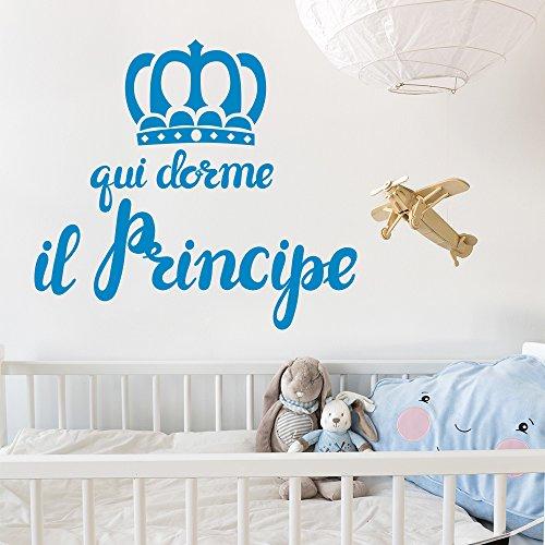 01401 Adesivo murale Wall Art Aforisma - Qui dorme il principe - Misure 60x54 cm - azzurro - Decorazione parete, adesivi per muro, carta da parati