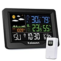 Kalawen Digital Weather Station with Outdoor Sensor, MSF Wireless Alarm Clock, Colour LCD, USB Charging Port, Alarm Clock, Weather Forecasting, Temperature, Barometer, Humidity Monitor