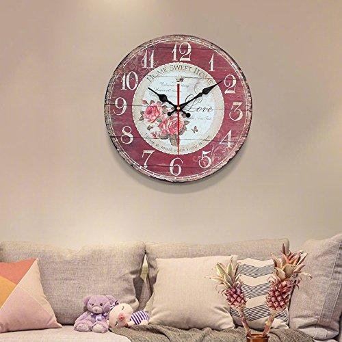 Komo silencioso Moderno Decoración Adorno para Hogar Gas invasiva Simple Tabla de Pared Retro Reloj de Cuarzo de Gran Reloj de Pared Reloj,16 Pulgadas, Rojo