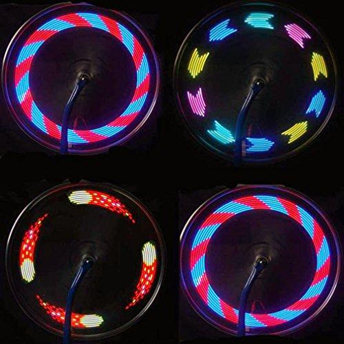 OUTAD Wasserdicht 14-LED Fahrrad Felge Lichter mit 30 Farbmuster, Fahrradlichter Blinker Spoke Beleuchtung Lampe Nachtlicht für MTB Rad Gummireifen (Led-fahrrad-beleuchtung)