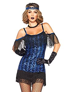 Leg Avenue- Mujer, Color Negro y Azul, Large (EUR 42-44) (84254)