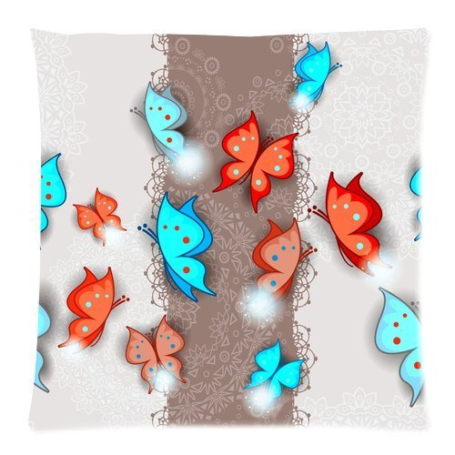 Custom Fashion Colorful Butterflies Seamless Zippered Throw Pillow Cover Cushion Case 16x16 (one side)