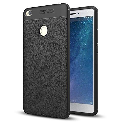 kinguard Xiaomi Mi Max 2 Hülle, Flexiblem TPU Silikon Hybrid Schutzhülle mit Leder Texture Tasche Slim Case für Xiaomi Mi Max 2 -Schwarz