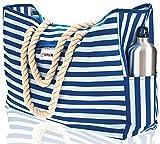 SHYLERO Wasserdichte Strandtasche mit Baumwollseilgriffen, Außentaschen und Streifen mit Handyhülle, integriertem Schlüsselring und Flaschenöffner XL Blau Weiss