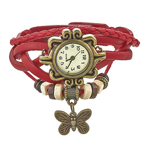 Souarts Damen Geflochten Leder Armbanduhr Maedchen Armreif Uhr mit Blumen Zifferblatt Schmetterling Anhänger