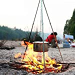 Zerich Camping Tripod Campfire Cooking Dutch Oven Tripod Portable Outdoor Picnic Foldable Cooking Tripod Barbecue Accessory Cooking Lantern Tripod Hanger with Storage Bag for Camping Activities#7824 13
