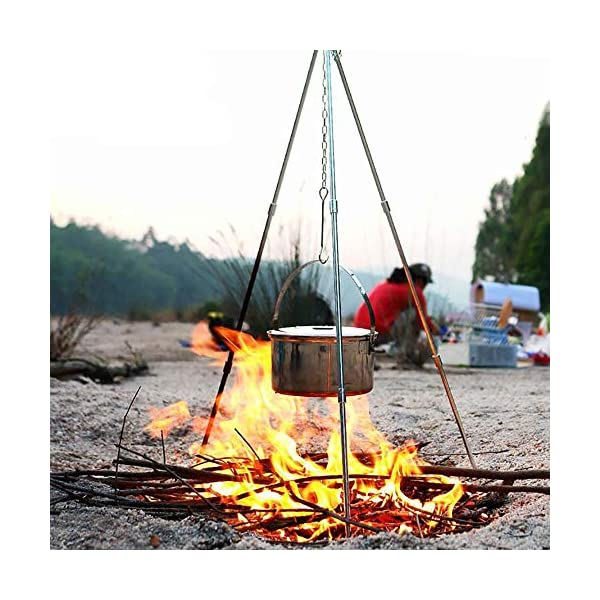 Zerich Camping Tripod Campfire Cooking Dutch Oven Tripod Portable Outdoor Picnic Foldable Cooking Tripod Barbecue Accessory Cooking Lantern Tripod Hanger with Storage Bag for Camping Activities#7824 6