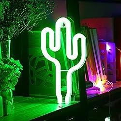 XIYUNTE Neón Lights Luces de la noche - LED Cactus Modelado Lámparas Neon Lámpara de pared, (Operación de batería & USB)Lámparas de mesa y mesilla de noche, Iluminación de interior infantil,Decoración del hogar