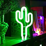 LED Cactus Neon Light Sign - Night Lights Green Shine Neon Lamps Wall Decor Battery and USB Power Indoor Lighting Bedside and Table Lamps Home Decoration for Living Room, Bedroom, Party, Christmas, Birthday Gift