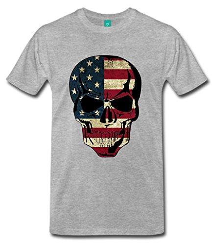 "Biker T-Shirt Orginal USA Motiv ""USA / Amerika"" Fun Rat Motorrad Grau"