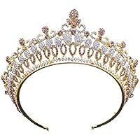 Frcolor Crystal Tiara Barroco Corona Rhinestone Diadema Tiara con Peine Lateral para Boda Prom Compromiso (Dorado)