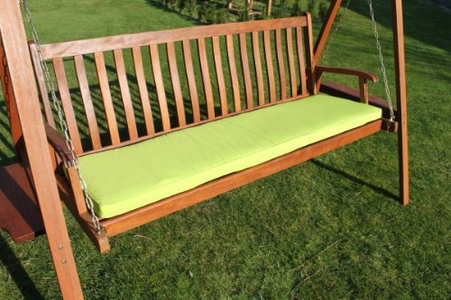 Gartenmöbel-Auflage - Auflage für 3-Sitzer-Hollywoodschaukel oder große Gartenbank in Limettengrün