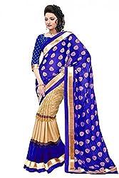 Jay Varudi Creation Women's Blue & Beige Cottan Silk Half-Half Sarees For Women (SB03_Julli_Blue_Free_Size)