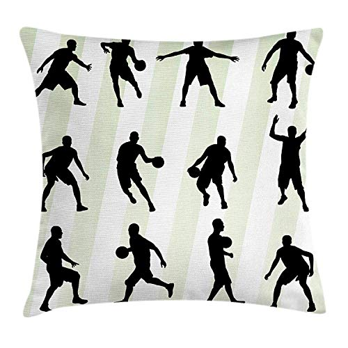 ZMYGH Rugby Stripe Throw Pillow Cushion Cover, Silhouette Basketball Player Sports Hobby Athlete Illustration, Decorative Square Accent Pillow Case, 18 X 18 Inches, Pale Green Black White Hello Kitty-rugby