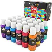 ARTEZA Kids Pinturas de tempera para niños   Caja de pinturas al temple con colores brillantes, metálicos y luminiscentes   Set de 24 botes de 29ml