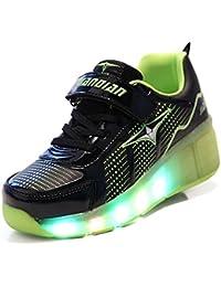 Mr.Ang Skateboard Schuhe Flügel-Art Rollen Verstellbare Schlittschuhe neutral Rollschuh Schuhe mit LED 7 Farbe Farbwechsel Lichter blinken Skateboard Lnline Sneaker Einzelnes Rad Schuljunge Mädchen