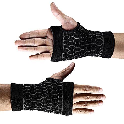 2PC Handgelenkbandage medium Compression Sleeve mit Daumen Palm Karpaltunnel Bandage Fingerschienen für erleichtert Sehnenentzündungen Arthritis schwarz