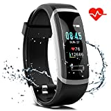 Fitness Tracker HR,S1 Fitness Watch with Heart Rate Monitor, Activity Tracker, Sleep Monitor, Step Counter Calories Watch, IPX7 Waterproof Smart Wristband Pedometer for Kids, Women and Men (Black)