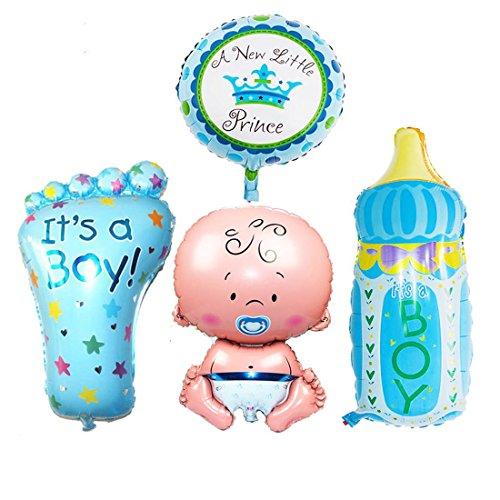 JJOnlineStore Bebé niño pequeño niña enorme hoja globos de helio nueva fiesta de cumpleaños bautizo decoración de la fiesta de cumpleaños (juego de 4) (azul - niño) ...