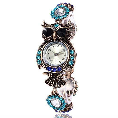 Goodsatar 2017 Vendimia Búho Moda De las mujeres Marca de pulsera de cuarzo Relojes Regalo Reloj de pulsera (A)