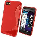 igadgitz S Line Rojo Case TPU Gel Funda Cover Carcasa para BlackBerry Z10 Smartphone + Protector de pantalla