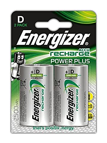 Energizer Power Plus D Rechargeable Batteries - Pack of 2