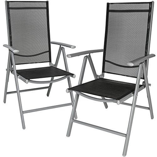 Tectake set di alluminio sedie da giardino pieghevole con braccioli - disponibile in diversi colori e quantità - (grigio chiaro | 2 sedie | no. 401631)