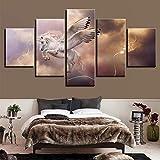 Paintings JFW-Wall Art Modulare Bild 5 Panel Die Fantasie Einhorn Pegasus Moderne Leinwand Malerei An Der Wand Bilder Für Wohnzimmer,A,30x40x2+30x60x2+30x80x1