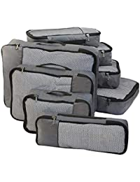 FATMUG Packing Cubes Travel Pouch Bag Organiser Set of 8 (2 * Large-Medium-Small and Slim)