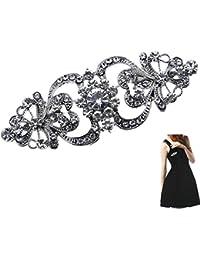 BiBeary Women elegant Zirconia Butterfly Party Paperclip Shape Brooch Silver-Tone