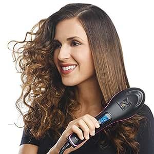 BUYERZONE WITH BZ LOGO Simply Ceramic Straight Hair Straightener Brush-Black
