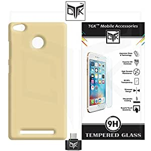 TheGiftKart™ Combo For Xiaomi Redmi 3S PRIME (Combo of 1 Back Cover + 2 Tempered Glass + 1 OTG Adapter) - TheGiftKart™ Ultra Premium Matte Velvet Feel Hard Back Cover (Golden) + Premium HD Tempered Glass Screen Protector With Rounded Edges + OTG Adapter (Not Compatible With Xiaomi Redmi 3S)