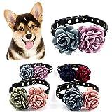 Danigrefinb Hundehalsband, handgefertigt, Blumen-Design, Strasssteine, Halsband für Hunde und Katzen, doppelseitig, Kunstleder, Plüsch, Legierung und Strass