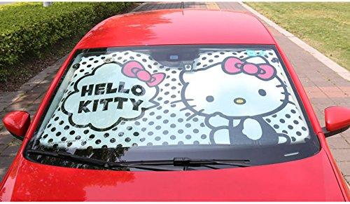 MFEIR Hello Kitty Black Auto Sonnenblende Sonnenschutz Frontscheibe Blendschutz Windschutzscheibe Schattenspender Autozubehör im Sommer (Hello Auto Kitty)