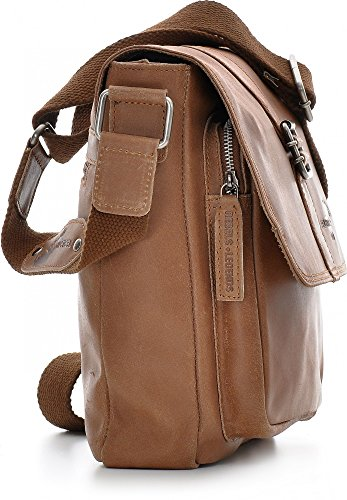 REBELS & LEGENDS, Messenger, Borsa a tracolla, Business, Borsa a mano, In Pelle, 28 x 28 x 7 cm marrone cognac