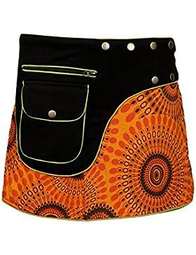 Tattopani Ropa de mujer multicolor dan la vuelta falda hippy Popper