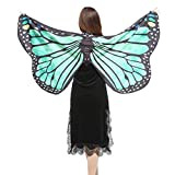 Overdose Damen Faschingskostüme Kinder Mädchen Jungen Butterfly Wing Cape Schmetterling Flügel Kostüm Schmetterlingsflügel Erwachsene Karneval Kostüm Kimono Schal Cape Tuch (147*70CM, E-Green)