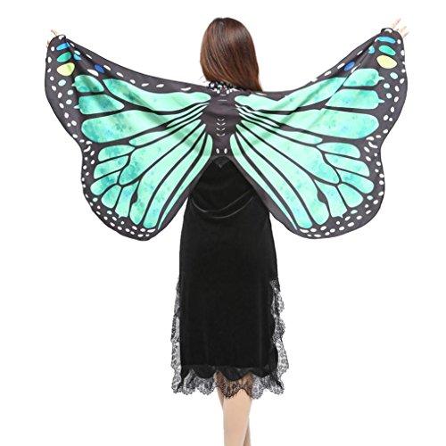 ingskostüme Kinder Mädchen Jungen Butterfly Wing Cape Schmetterling Flügel Kostüm Schmetterlingsflügel Erwachsene Karneval Kostüm Kimono Schal Cape Tuch (147*70CM, E-Green) ()