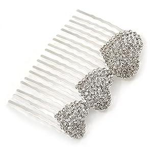 Brautschmuck/Hochzeit/Ball/Party Silber Ton Klar österreichischen Kristall 3Herzen Seite Haar Kamm–60mm