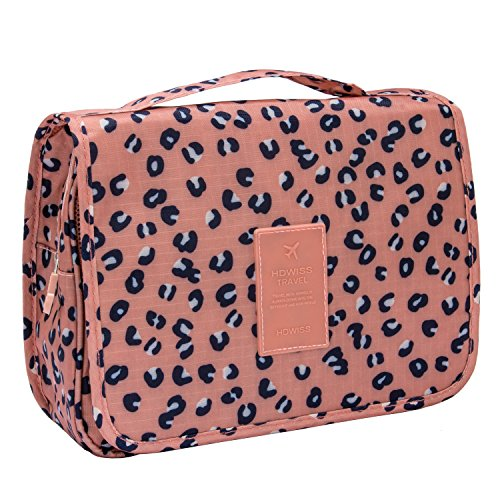 Discoball Portable Travel Folding Make up Toiletry Bags with Hook Organizer Bags Cosmetic Bags (pink leopard print)