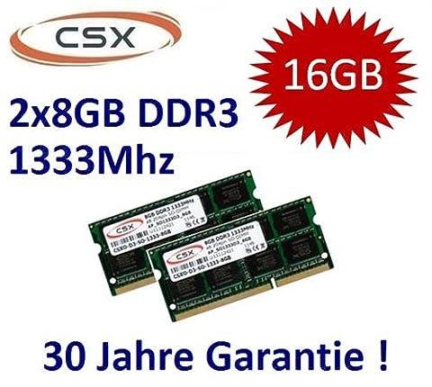 Mihatsch & Diewald / CSX 16GB Dual Channel Kit 2 x 8 GB 204 pin DDR3-1333 SO-DIMM (1333Mhz, PC3-10600S, CL9) passend für aktuelle Apple Systeme und Notebooks mit 16GB Unterstützung (Core i5/i7 2. Generation) - 30 Jahre Herstellergarantie