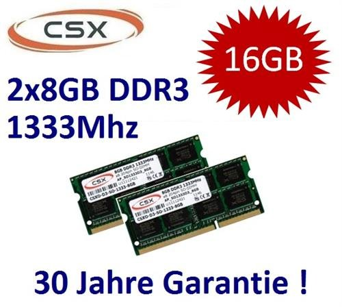 Cl9 Dual Channel (Mihatsch & Diewald / CSX 16GB Dual Channel Kit 2 x 8 GB 204 pin DDR3-1333 SO-DIMM (1333Mhz, PC3-10600S, CL9) passend für aktuelle Apple Systeme und Notebooks mit 16GB Unterstützung (Core i5/i7 2. Generation) - 30 Jahre Herstellergarantie)