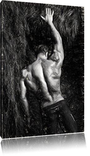 Muskulöser sexy Mann Kunst Kohle Effekt, Format: 80x60 auf Leinwand, XXL riesige Bilder fertig gerahmt mit Keilrahmen, Kunstdruck auf Wandbild mit Rahmen, günstiger als Gemälde oder Ölbild, kein Poster oder Plakat (Fitness-studio-wand-kunst)