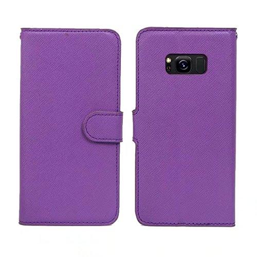 Cross Lines Pattern Abnehmbare 2 in 1 Style PU Ledertasche Brieftasche Beutel Case Cover mit Kickstand & Lanyard & Card Slots für Samsung Galaxy S8 ( Color : Blue ) Purple