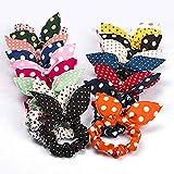 Sotica - Set di 10 elastici per capelli con orecchie di coniglio e fiocco, colore casuale, per donne e ragazze