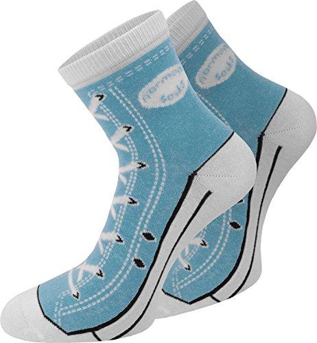 normani 4 Paar Baumwoll Socken im Schuh - Design Farbe Hellblau Größe 39/42