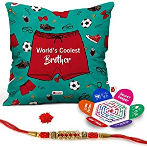 Indigifts World's Coolest Brother MicroSatin, Fibre, Cotton Printed Cushion Cover with Filler, 12 x 12-inch (Sea Green, IDSCOMAF816)