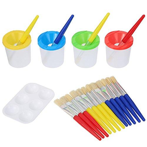 Shappy 16 Pièces Brosses à Peinture Plates et Rondes pour Enfants avec 4 Pièces Tasses de Peinture Anti-Éclaboussures et 1 Pièces Boîte à Peinture, Couleurs Assorties