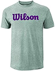Wilson M Script Cotton Camiseta De Tenis, Hombre, Gris (Heather Grey / Purple Potion), M